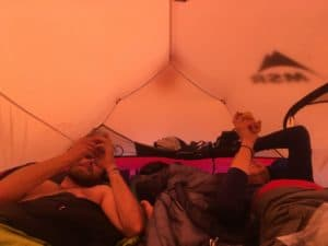 Three climbers inside the MSR Access 3.