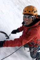 Jonathon ice climbing.