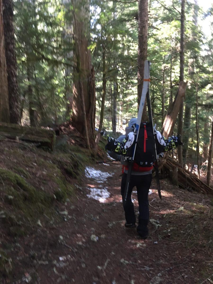 ski trip - hiking out